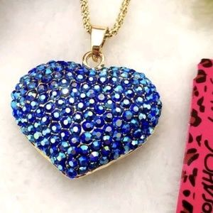Betsey Johnson Blue Crystal Heart Pendant Necklace